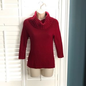 Pink Rose Small Red Turtleneck Sweater